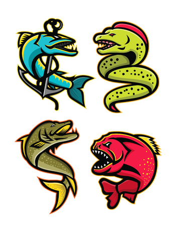 Mascot icon illustration set of ferocious and fearsome fishes like the barracuda, moray eel, northern pike or muskellunge fish, the piranha, pirana or caribe viewed from side on isolated background in retro style.