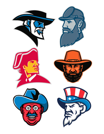 Mascot icon illustration set of heads of American Generals and Statesman like General Robert E Lee, General Stonewall Jackson, General Ulysses Simpson Grant, Theodore Roosevelt of the Rough Riders, an American revolution commander and Uncle Sam on isolated background in retro style.