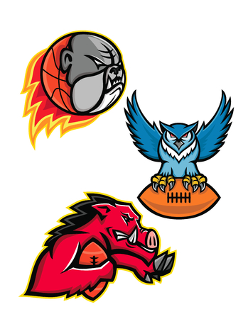 Mascot icon illustration set of American football or gridiron and basketball sports mascot like the bulldog, great horned owl clutching ball and razorback or wild boar running with ball on isolated background in retro style.