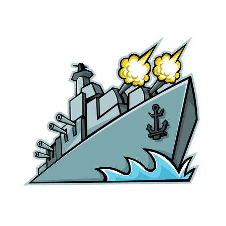 Ikona maskotka ilustracja amerykańskiego niszczyciela, okrętu wojennego lub pancernika z strzelającymi armatami, patrząc z niskiego kąta na na białym tle w stylu retro.