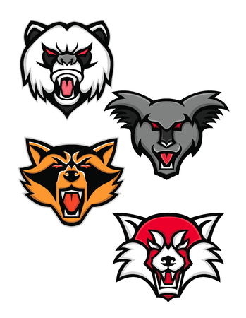 Mascot icon illustration set of heads of angry giant panda or panda bear, koala, racoon or raccoon and the red panda or red bear-cat  viewed from front  on isolated background in retro style.