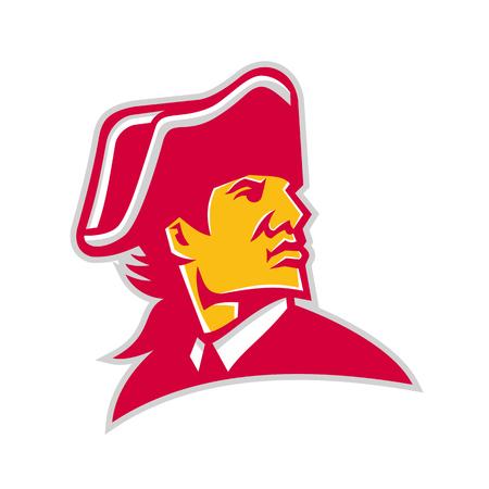 Ilustración del icono de la mascota de la cabeza de un comandante militar de la revolución americana o un general con sombrero tricornio mirando al lado sobre fondo aislado en estilo retro.