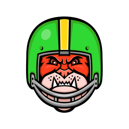 Sports mascot icon illustration of head of a bulldog wearing an American football or gridiron helmet viewed from front on isolated background in retro style.