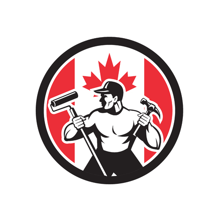 Icon retro style illustration of a Canadian professional handyman or household maintenance guy with Canada maple leaf flag set inside circle on isolated background.