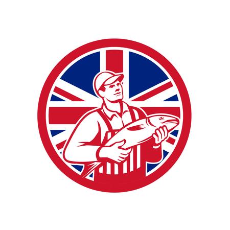 Icon retro style illustration of a British fishmonger selling fish with United Kingdom UK, Great Britain Union Jack flag set inside circle on isolated background.