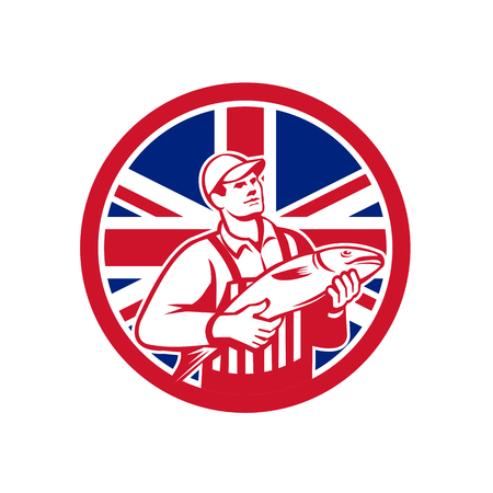 Icon retro style illustration of a British fishmonger selling fish with United Kingdom UK, Great Britain Union Jack flag set inside circle on isolated background.