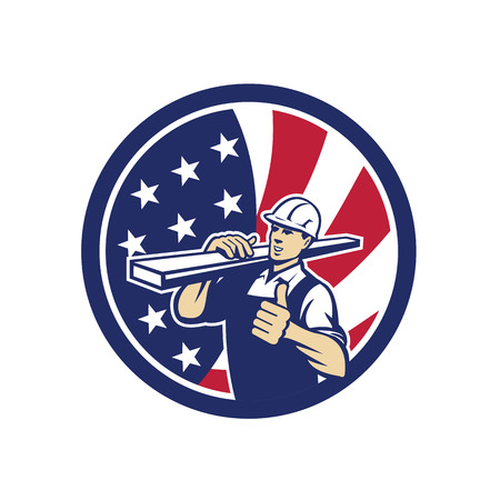 Icon retro style illustration of an American lumber yard or lumberyard worker thumbs up with United States of America USA star spangled banner or stars and stripes flag in circle isolated background.