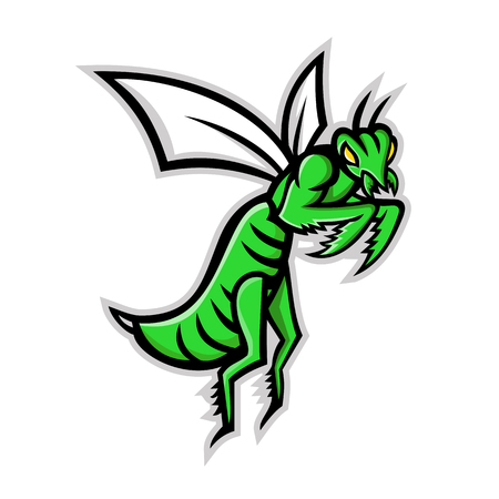 Mascot icon illustration of a praying mantis or mantis with forearms folded flying viewed from side on isolated background in retro style.