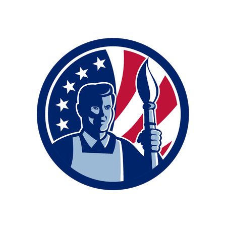 Icon retro style illustration of an American fine artist or painter holding paint brush with United States of America USA star spangled banner or stars and stripes flag in circle isolated background.