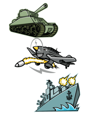 Mascot icon illustration set of World War 2 military vehicles like the American M4 Sherman medium tank, the Junkers Ju 87 or Stuka German  dive bomber and an American destroyer warship or battleship viewed from low angle on isolated background in retro style. Illustration