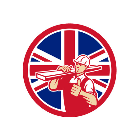 Icon retro style illustration of a British lumber yard or lumberyard worker thumbs up with United Kingdom UK, Great Britain Union Jack flag set inside circle on isolated background.