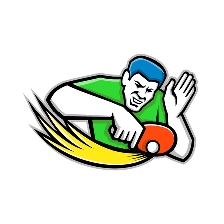 Mascot icon illustration of a table tennis or ping-pong player blocking a ping pong ball with paddle or racket viewed from front on isolated background in retro style.
