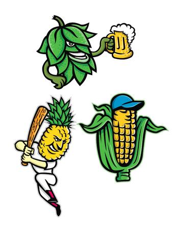 Insieme dell'illustrazione dell'icona della mascotte di frutta e verdura come un luppolo di birra che beve boccale di birra, una pannocchia di mais o di mais che indossa un berretto da baseball e un ananas con battuta di mazza da baseball su sfondo isolato in stile retrò.