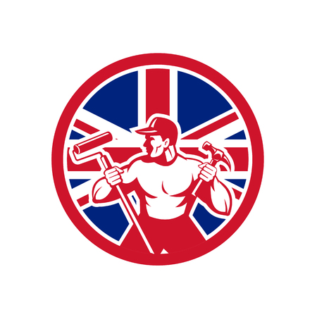 Icon retro style illustration of a British professional handyman or household maintenance guy with United Kingdom UK, Great Britain Union Jack flag set inside circle on isolated background.