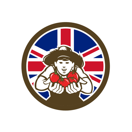 Icon retro style illustration of a British organic grown produce tomato farmer with United Kingdom UK, Great Britain Union Jack flag set inside circle on isolated background. Çizim