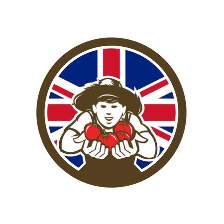 Ilustración de estilo retro de icono de un agricultor británico de tomates orgánicos cultivados con Reino Unido Reino Unido, Gran Bretaña Union Jack bandera dentro del círculo sobre fondo aislado. Ilustración de vector