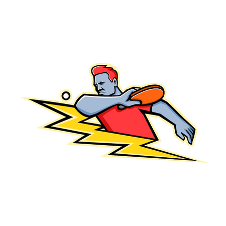 Mascot icon illustration of a table tennis or ping-pong player striking a ping pong ball with paddle or racket with lightning bolt or thunderbolt viewed from side on isolated background in retro style.