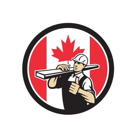 Icon retro style illustration of a Canadian lumber yard or lumberyard worker thumbs up with Canada maple leaf flag set inside circle on isolated background. Reklamní fotografie - 104293620
