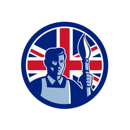 Icon retro style illustration of a British fine artist or painter holding paint brush with United Kingdom UK, Great Britain Union Jack flag set inside circle on isolated background.