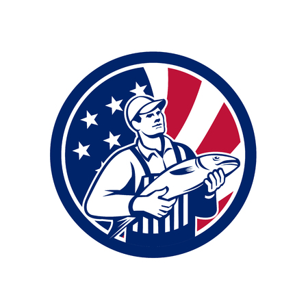 Icon retro style illustration of an American fishmonger selling fish with United States of America USA star spangled banner or stars and stripes flag inside circle isolated background.
