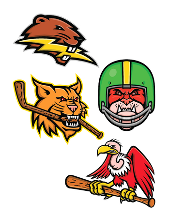 Sports mascot icon illustration set of heads of American wildlife like the North American beaver with lightning bolt, bobcat or lynx cat with ice hockey stick, bulldog wearing gridiron or football helmet and California condor or vulture with baseball bat  on isolated background in retro style. Illustration