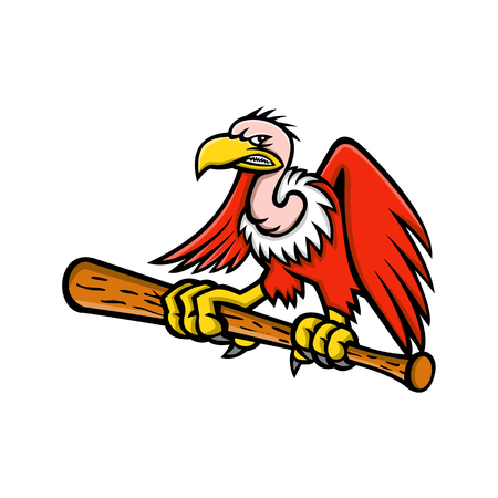 Ilustración del icono de la mascota de un cóndor californiano o andino, buitre o buitre, un ave de rapiña carroñera, agarrándose posado en un bate de béisbol visto de frente sobre fondo aislado en estilo retro.