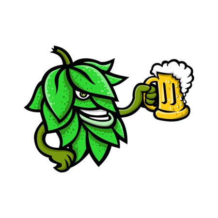 Illustrazione dell'icona della mascotte di un luppolo di birra, fiori o coni di semi o strobila della pianta del luppolo che beve un boccale di birra visto dal lato su sfondo isolato in stile retrò.