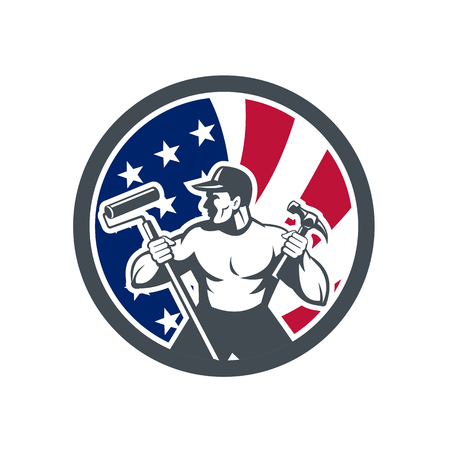 Icon retro style illustration of an American professional handyman or household maintenance guy with United States of America USA star spangled banner or stars stripes flag circle isolated background. Иллюстрация