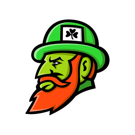 Mascot icon illustration of head of a leprechaun, a type of fairy in Irish folklore depicted as little green bearded man, wearing a coat and hat, viewed from side isolated background in retro style.