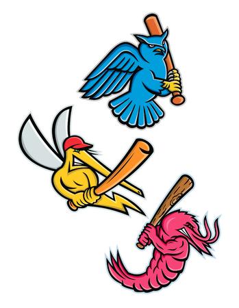 Sporting mascot icon illustration set of wildlife as baseball player like the great horned owl,  tiger owl or hoot owl, mosquito, king prawn or jumbo shrimp, batting with baseball bat on isolated background in retro style. Illustration
