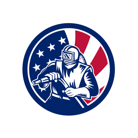 Icon retro style illustration of an American sandblaster, abrasive blasting or sandblasting with United States of America USA star spangled banner stars and stripes flag in circle isolated background.