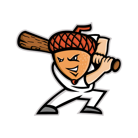 Mascot icon illustration of an acorn, or oak nut, the nut or seed of the oak tree, as baseball player batting with baseball bat viewed from side on isolated background in retro style.