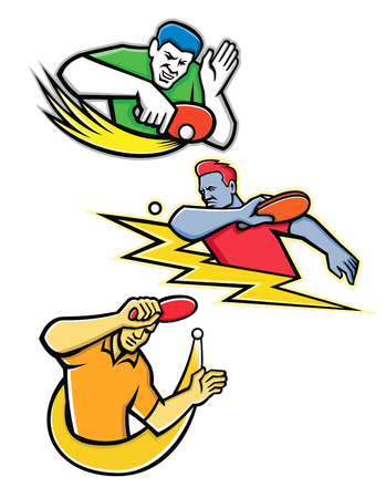 Mascot icon illustration set of table tennis or ping-pong player striking, smashing, blocking a ping pong ball with paddle or racket on isolated background in retro style.