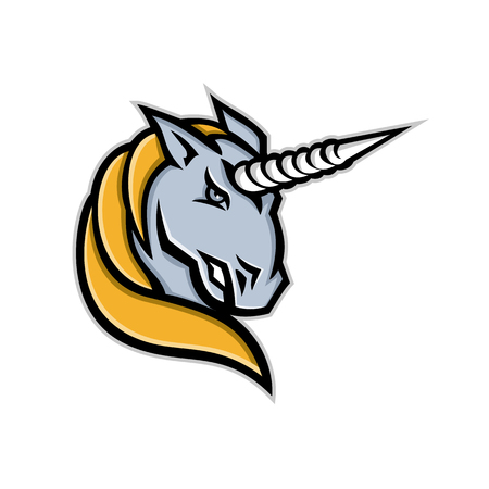 Mascot icon illustration of head of a unicorn, a legendary creature, beast or horse with single large, pointed, spiraling horn projecting from its forehead on isolated background in retro style. Illustration