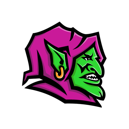 Mascot icon illustration of head of a goblin, a monstrous creature from European folklore, that is small, grotesque, mischievous , malicious and greedy on isolated background in retro style. Иллюстрация