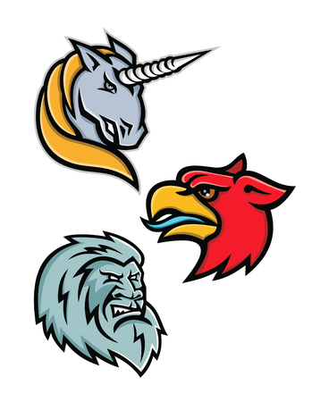 Mascot icon illustration set of heads of legendary or mythical creatures like the unicorn,griffin, griffon, or gryphon, the yeti or abominable snowman viewed from side  on isolated background in retro style.