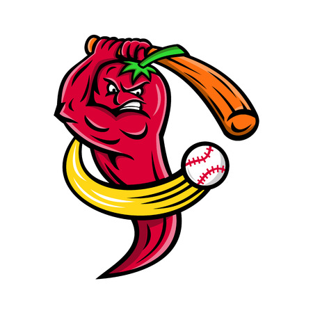 Mascot icon illustration of a red chili pepper from Nahuatl chilli, fruit of plants from the genus Capsicum, members of the nightshade family, as baseball player batting with baseball bat on isolated background in retro style. Illustration