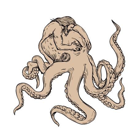 Zeichnen einer Skizzenartillustration von Herkules oder Herakles, einem griechischen oder römischen Helden und Gott, der gegen einen riesigen Tintenfisch, eine achtarmige Weichtier, kämpft, indem er seine Augen bedeckt, um ihn auf isoliertem Hintergrund zu beruhigen.