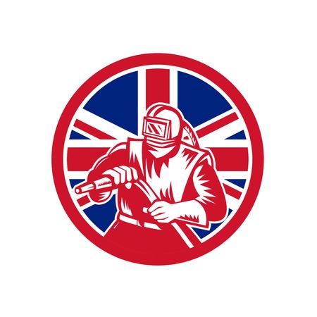 Icon retro style illustration of a British sandblaster, abrasive blasting or sandblasting,  with United Kingdom UK, Great Britain Union Jack flag set inside circle on isolated background.