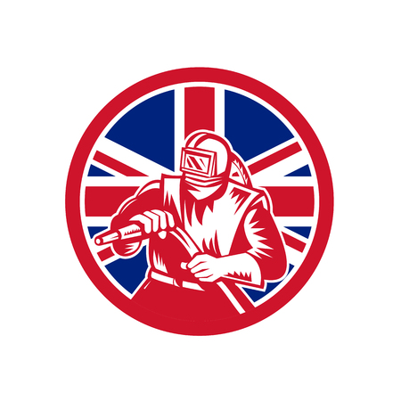 Icon retro style illustration of a British sandblaster, abrasive blasting or sandblasting,  with United Kingdom UK, Great Britain Union Jack flag set inside circle on isolated background.