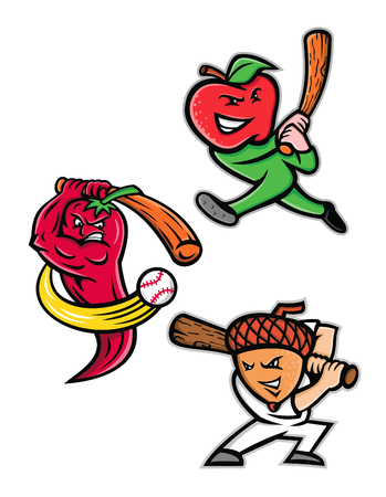 Mascot icon illustration set of fruits playing as baseball player batting with bat like the apple, red chili pepper or chilli and the acorn or oak nut viewed from side on isolated background in retro style.