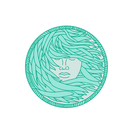 Mono line illustration of a face of a Polynesian woman with flowing sea kelp hair viewed from front set inside circle done in monoline style.
