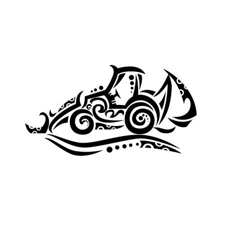 Illustration de style tatouage tribal d'une pelle rétrocaveuse, d'un acteur arrière ou d'un acteur arrière, d'un type d'équipement d'excavation ou d'une pelle mécanique, composée d'un seau à creuser à l'extrémité d'un bras articulé en deux parties.