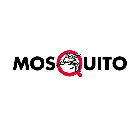 Mascot icon illustration of an angry mosquito flying viewed from side set inside letter Q of the word or text mosquito on isolated background in retro style.