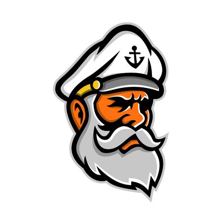 Ilustración del icono de la mascota de la cabeza de un perro de mar o lobo de mar, un capitán de barco, marinero o pescador viejo o experimentado, visto desde el lado sobre fondo aislado en estilo retro.