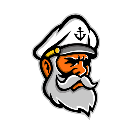 Mascot icon illustration of head of a seadog or sea dog, an old or experienced sea captain, sailor or fisherman viewed from side on isolated background in retro style.