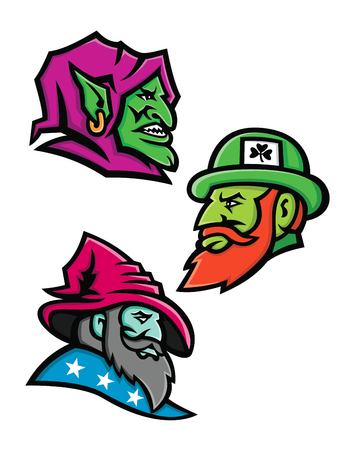 Mascot icon illustration set of heads of a goblin, Irish leprechaun and a wizard, sorcerer, warlock or magician  viewed from side  on isolated background in retro style. Ilustrace