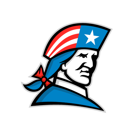 Mascot icon illustration of head of an American patriot, minuteman or revolutionary soldier with USA flag stars and stripes on his tricorn hat viewed from side on isolated background in retro style.