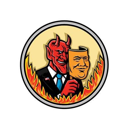 Ilustración del icono de la mascota del busto de un demonio, diablo o Satanás, sosteniendo una máscara de un empresario estadounidense con llamas alrededor del círculo visto de frente sobre fondo aislado en estilo retro. Ilustración de vector