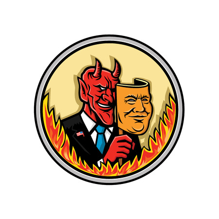 Mascot icon illustration of bust of a demon, devil or Satan, holding a mask of an American businessman with flames around the circle viewed from front on isolated background in retro style.